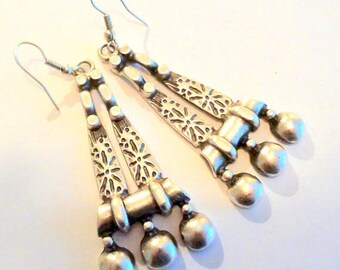 Boho ethnic earrings, boho jewelry, boho earrings, silver earrings, turkish earrings, statement jewelry, silver jewelry, ethnic jewelry