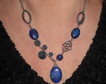 Lapis necklace, statement necklace, gemstone necklace, boho chic necklace, unique necklaces for women, funky unique necklace, lapis jewelry