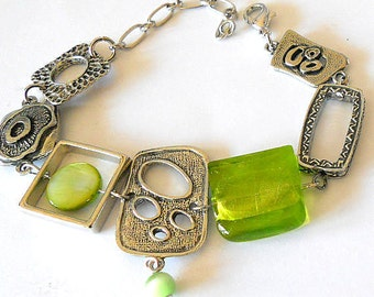 Funky jewelry, statement bracelet, lime green bracelet, unique jewelry, boho bracelet, gift for her, silver link jewelry, asymmetric jewelry