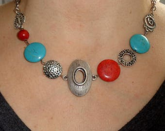 Statement necklace, funky necklace, red and turquoise necklace, unique necklaces for women, silver link necklace,  boho chic jewelry, gift