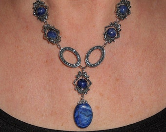 Lapis necklace, statement necklace, unique necklaces for women, lapis jewelry, boho jewelry, funky jewelry, statement jewelry, gift