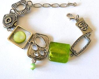 Green abstract statement bracelet, lime green bracelet, funky boho asymmetric bracelet, silver link unique jewelry, boho chic jewelry, gift
