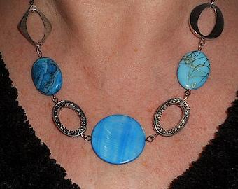 Aqua blue statement necklace, boho chic necklace, blue stone jewelry, silver link jewelry, funky jewelry, unique necklaces, boho jewelry