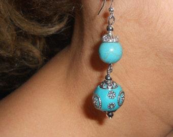 Turquoise earrings, gypsy earrings, boho earrings, blue earrings, dangle earrings, ethnic jewelry, boho turquoise jewelry, boho chic jewelry
