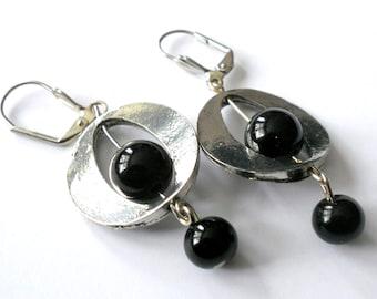 Black earrings, boho earrings, onyx earrings, dangle earrings, silver link earrings, black onyx jewelry, gift for her, boho chic jewelry