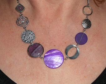 Purple statement necklace, asymmetric necklace, funky necklace, unique necklaces for women, boho chic funky jewelry