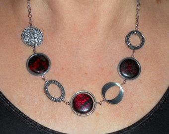 Red funky necklace, statement necklace, boho chic necklace, unique necklaces for women, funky jewelry, red jewelry, silver link jewelry