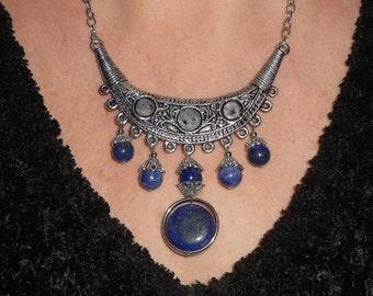 Statement necklace, lapis necklace, crescent necklace, bohemian necklace, unique necklaces for women, lapis lazuli jewelry, bohemian jewelry
