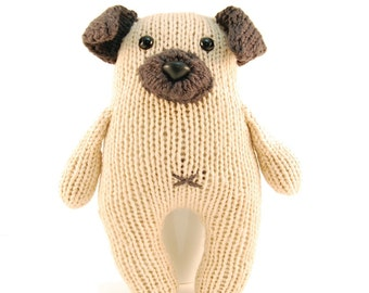 Wasabi the Gregarious Pug Knitting Pattern Pdf INSTANT DOWNLOAD d1eaf4c386