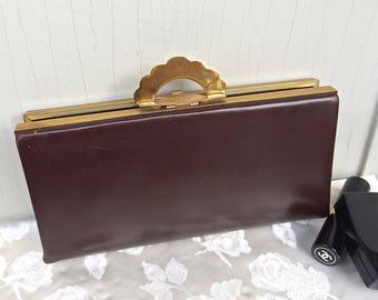 Sleek chocolate brown Art Deco, Evans clutch purse, gold scalloped clasp, vintage purse, vintage clutch, Evans purse, TwoSwansSwimming