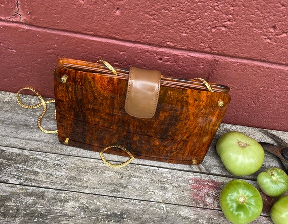 Stunning tortoise shell style Koret lucite purse,… - image 1