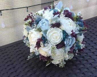 Purple blue bouquet | Etsy