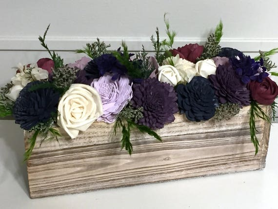 Shades Of Purple Wedding Arrangement Made With Sola Flowers Etsy