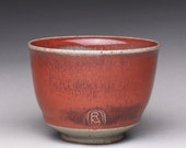 handmade ceramic cup, yunomi, pottery tea cup with bright red and green celadon glazes