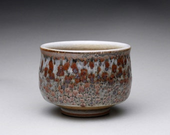 ceramic tea bowl, pottery cup, teacup with layered shino glazes