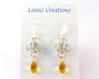 Sterling Silver Persephone Chainmaille Earrings with Sunflower Swarovski Crystals