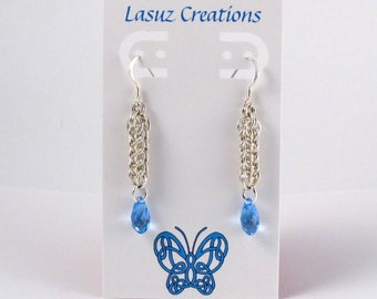 Sterling Silver Full Persian Chainmaille Earrings with Light Sapphire Swarovski Crystals