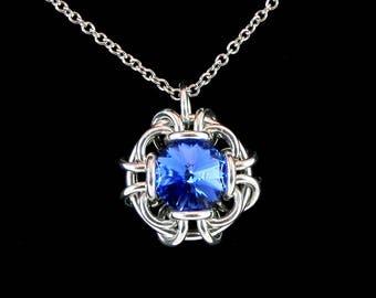 Sapphire Blue Swarovski Crystal Pendant Necklace
