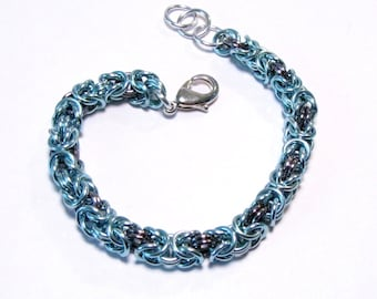 Sky Blue and Black Ice Chainmaille Byzantine Bracelet - Free Shipping Canada and Continental US
