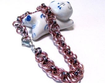 Pink and Black Ice Chainmaille Helm Weave Bracelet - Free Shipping in Canada and Continental US