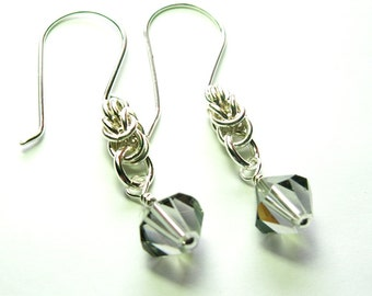 Sterling Silver Byzantine Chainmaille with Black Diamond Swarovski Crystal Earrings