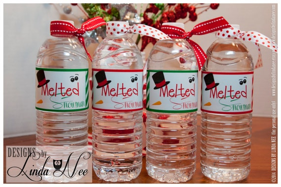 Melted Snowman Water Bottle Wrappers Melting Snowman Water Etsy