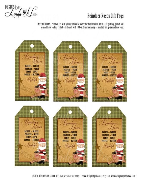 Reindeer Noses Treat Bag Labels Printable Candy Bag Labels Etsy