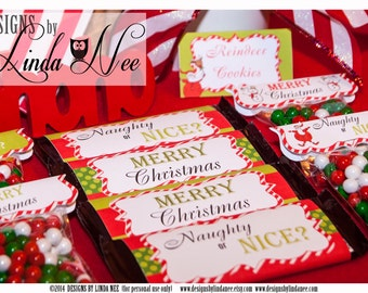 Christmas Candy Bar Wrappers, Santa Christmas Large 1.55 oz Hershey Bar Candy Wrappers, Christmas Printable DIY Favors, Hershey Wrappers