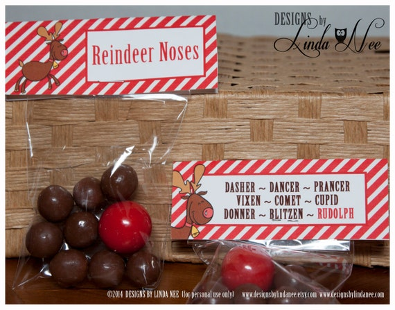 picture regarding Reindeer Noses Printable referred to as Reindeer Noses Brights - Address Bag Topper 4\