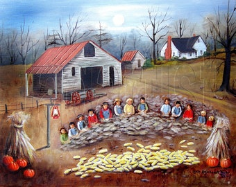 Corn Shucking Fall Folk Art Prints Pumpkins Moon Country Autumn Landscape Painting Arie Reinhardt Taylor, Farming