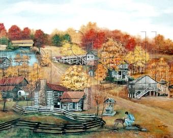 Fall Folk Art Original Print Hart Square Autumn North Carolina Log Cabins Village
