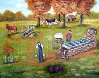 Folk Art Prints, Making Molasses, Oil Painting Print Autumn, Southern Landscape, Country Painting, Arie, Sugar Cane