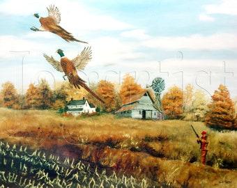 Folk Art Print Country Scene Pheasant Hunter -  South Dakota, Windmill, Autumn - Corn Field, Barn, Farm House, Man, Gun, Arie Taylor