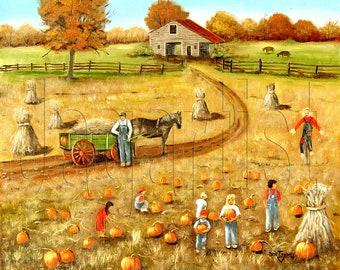 Pumpkin Patch Farm Barn Autumn Corn Stalks Folk Art Print, Horse, Green Wagon, Scarecrow, Children, Arie Reinhardt Taylor