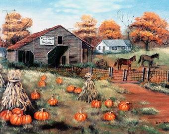 Primitive Fall Folk Art Print Barn Pumpkins Farm Autumn Trees, Horse, Wire Fence, Cooksville Barn and fence, Catawba County NC, Arie