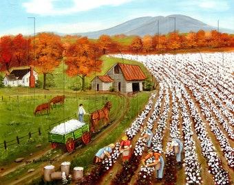 Landscape Cotton Field Primitive Folk Art Prints Autumn American, Cows in Pasture Wall Art, Southern cotton art