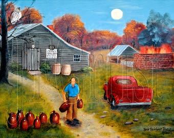 Folk Art Painting, Burlon Craig's Pottery, Jugs, Kiln, Night Scene, Owl, Moon, Red Truck, Autumn, Country Scene Print Arie Taylor