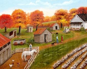 Fall Folk Art Prints Original Landscape Painting Cotton Field, Outhouse, Autumn Farm Painting Barn, North Carolina, Arie Reinhardt Taylor
