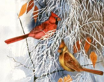Cardinal Winter Autumn Watercolor Art Print Wall Decor, Red Birds Art Prints