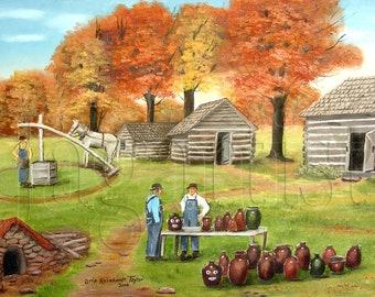 Autumn Folk Art Pottery Print Primitive Painting Catawba County Jugtown Vale NC White horse, Log Cabin