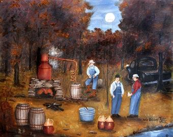 Primitive Folk Art Moonshine Still Prints, Autumn Liquor Still Moonshiners, Old Truck, Fall Trees, North Carolina Artist