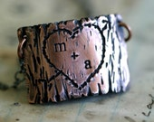 Tree Bark Lovers Carving Copper Necklace (E0263)