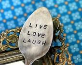 Live Love Laugh' Stamped Spoon Garden Marker Vintage Silverware (E0213)