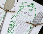 Lettuce Plantable Seed Paper with Silverware Garden Marker (E0360)
