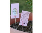 Pink baby girl wildflower kit plantable seed paper with  garden marker (E0386)