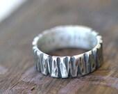 Men's tree bark wedding ring 14k gold (E0301)