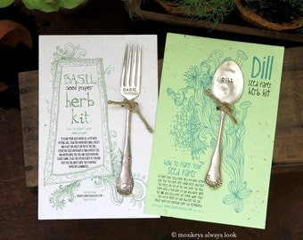 Silverware garden markers and plantable paper set of two (E0254)