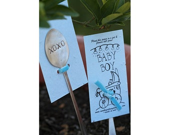Blue baby boy wildflower kit plantable seed paper with  garden marker (E0387)