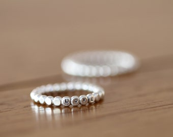 Personalized sterling silver ring dot ring bead ring simple ring stacking ring  (E0611)