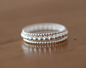 Sterling silver bead ring set, stack ring, stacking rings, dot ring, simple band, midi ring(E0610)